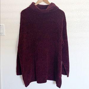 Denim&Co Maroon Chunky Knit Plus Size Sweater